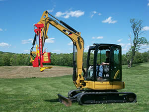 Vector Mini-Excavator Post Driver