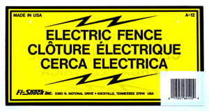 Fi-Shock Electric Fence Warning Signs